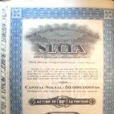 Coleccionismo Acciones Extranjeras: ACCION DE INDUSTRIA Y AGRICULTURA DEL CONGO BELGA DE 1927. Lote 45602830