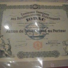 Coleccionismo Acciones Extranjeras: COMPAGNIE FRANÇAISE DES ACCUMULATEURS ÉLECTRIQUES IODAC 1928. Lote 47382673
