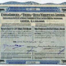 Coleccionismo Acciones Extranjeras: FERROCARRILES UNIDOS DE LA HABANA Y ALMACENES DE REGLA LIMITADA CIA INTERNACIONAL. 1906. CUBA, TREN. Lote 47722721