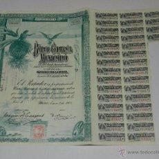 Coleccionismo Acciones Extranjeras: (M-2) ACCION SERIE A BANCO CENTRAL MEXICANO , MEXICO ENRO 1908, CAPITAL 30.000.000. Lote 48778169