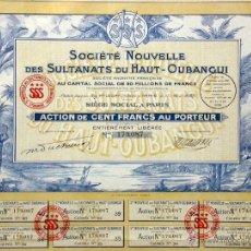 Coleccionismo Acciones Extranjeras: SOCIÉTÉ NOUVELLE DEL SULTANATS DU HAUT-OUBANGUI 1927. Lote 49694998