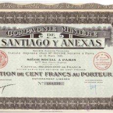 Coleccionismo Acciones Extranjeras: COMPANIE MINIERE DE SANTIAGO Y ANEXAS 1925. Lote 49967444