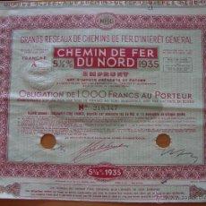 Coleccionismo Acciones Extranjeras: CHEMIN DE FER DU NORD 1935. Lote 50636756