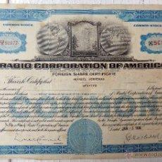 Colecionismo Ações Internacionais: ACCION , RADIO CORPORATION OF AMERICA , 50 SHARES , USA , ORIGINAL. Lote 50637600