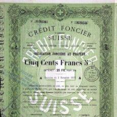 Coleccionismo Acciones Extranjeras: CREDIT FONCIER ET COMMERCIAL SUISSE 1871. Lote 51231855