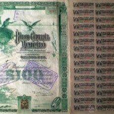 Coleccionismo Acciones Extranjeras: 1905.- ACCION BANCO CENTRAL MEXICANO, CAPITAL 21.000.000 $, 34 CUPONES Y SELLO DE AUMENTO DE 30 MI.. Lote 51567869
