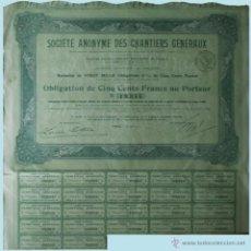 Coleccionismo Acciones Extranjeras: 1919.- PARÍS. OBLIGACION DE 500 FR. DE CHANTIERS GENERAUX, S.A. CON 22 CUPONES.. Lote 51586343