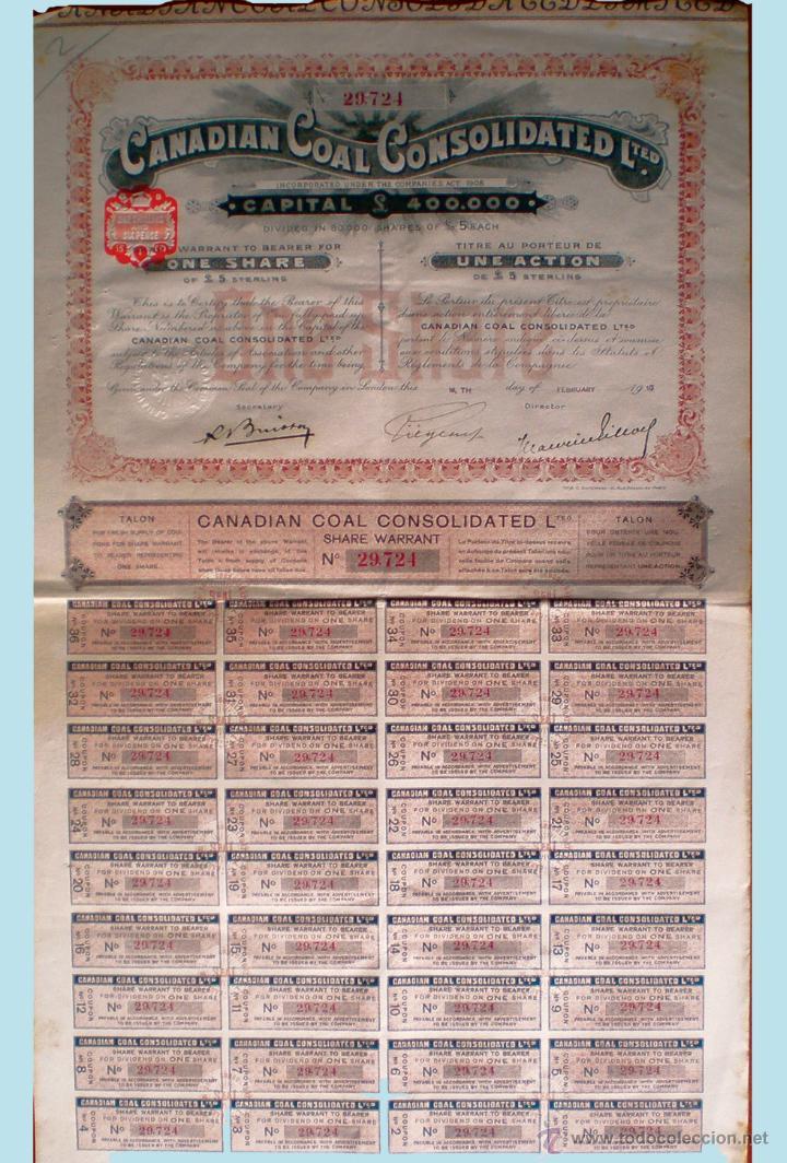 1910.- LONDRES. ACCION DE 5 LIBRAS. DE CANADIAN CONSOLIDATED LTED. CON 36 CUPONES. COMPLETA. (Coleccionismo - Acciones Internacionales)