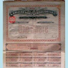 Coleccionismo Acciones Extranjeras: 1910.- LONDRES. ACCION DE 5 LIBRAS. DE CANADIAN CONSOLIDATED LTED. CON 36 CUPONES. COMPLETA.. Lote 51586759