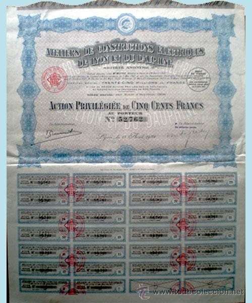1924.- LYON. ACCION PREVILEGIÉE 500 FR. DE CONSTRUCTIONS ELECTRIQUES DE LYON ET DU DAUPHINÉ. CTA. (Coleccionismo - Acciones Internacionales)