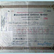 Coleccionismo Acciones Extranjeras: 1914.- CERTIFICADO DE REG. DE 3 ACCIONES DEL CAPITAL STOCK 1.300.000 $ DE FRANCO=CANADIAN COLLIERES . Lote 51603151