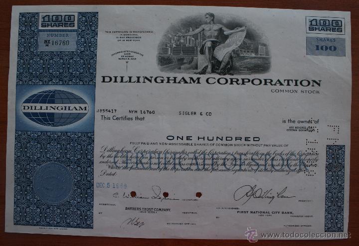 ACCIÓN DE LA EMPRESA AMERICANA DILLINGHAM CORPORATION. AÑO 1.968 - ILUSTRADA (Coleccionismo - Acciones Internacionales)