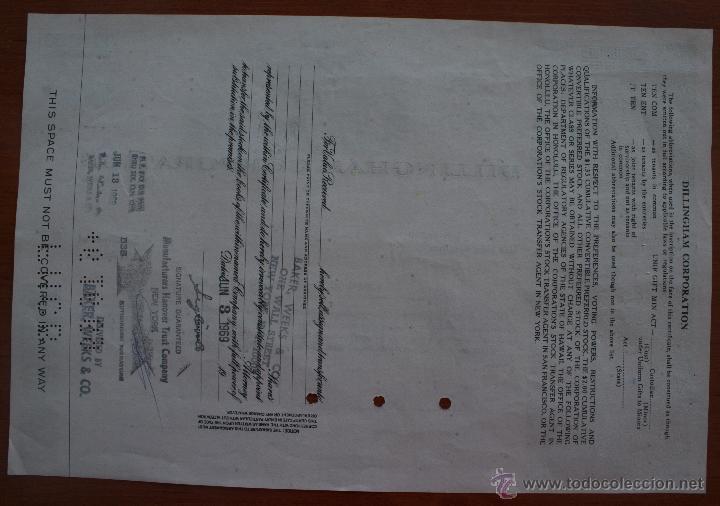 Coleccionismo Acciones Extranjeras: ACCIÓN DE LA EMPRESA AMERICANA DILLINGHAM CORPORATION. AÑO 1.968 - ILUSTRADA - Foto 2 - 51612147