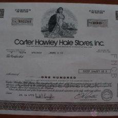 Coleccionismo Acciones Extranjeras: ACCIÓN DE LA EMPRESA CARTER HAWLEY HALE STORES, INC. AÑO 1.975 - ILUSTRADA MEDIDAS 33 X 21 CM EN U. Lote 51614643