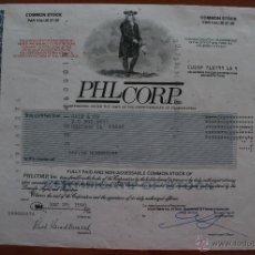 Coleccionismo Acciones Extranjeras: ACCIÓN DE LA EMPRESA PHILCORP, INC. PENSILVANIA AÑO 1.990 - ILUSTRADA. Lote 51614693