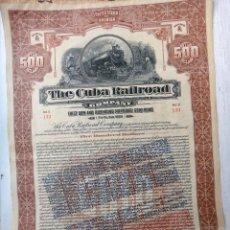 Coleccionismo Acciones Extranjeras: ACCION , THE CUBA RAILROAD, FERROCARRIL DE CUBA 1921 , 500 PESOS , NO TIENE CUPONES , ORIGINAL. Lote 55882619