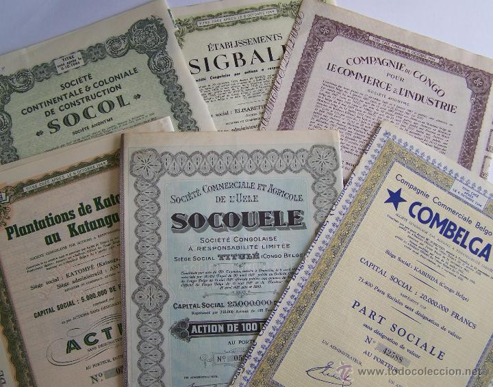 LOTE DE 6 DISTINTAS ACCIONES DEL CONGO BELGA 1940´S Y 1950´S * 31 CM (Coleccionismo - Acciones Internacionales)