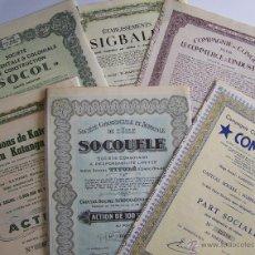 Coleccionismo Acciones Extranjeras: LOTE DE 6 DISTINTAS ACCIONES DEL CONGO BELGA 1940´S Y 1950´S * 31 CM . Lote 51770355