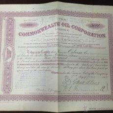 Collezionismo Azioni Internazionali: ACCION. COMMONWEALTH OIL CORPORATION. 1909. WESTMINSTER, LONDRES. TOMAS OSBORNE. Lote 120693411