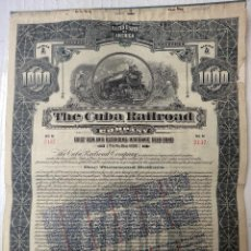 Coleccionismo Acciones Extranjeras: ACCION , THE CUBA RAILROAD, FERROCARRIL DE CUBA 1921 , 1000 PESOS , SI TIENE CUPONES , ORIGINAL. Lote 108976843