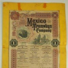 Coleccionismo Acciones Extranjeras: DO-024. ACCIÓN. MEXICO TRAMWAYS COMPANY. ACCIÓN ORO 100 DÓLARES. PAPEL. LONDON. 1909.. Lote 51519960