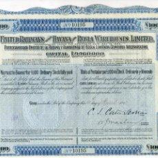Coleccionismo Acciones Extranjeras: FERROCARRILES UNIDOS DE LA HABANA Y ALMACENES DE REGLA LIMITADA CIA INTERNACIONAL. 1912. CUBA, TREN. Lote 54986275
