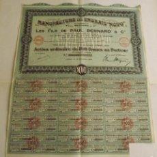 Coleccionismo Acciones Extranjeras: 1930, ACCIÓN MANUFACTURE DES ENGRAIS NOVO, LES FILS DE PAUL BERNARD & CIE. Lote 57240566