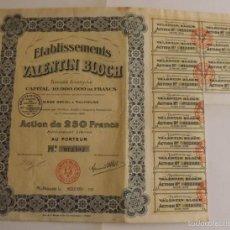 Coleccionismo Acciones Extranjeras: 1924, ACCIÓN ETABLISSEMENTS VALENTIN BLOCH. Lote 57241176