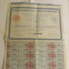Coleccionismo Acciones Extranjeras: 1930, ACCIÓN SOCIÉTÉ ALSACIENNE DE BLANC ET IMPRESSION GROS ROMAN. Lote 57241205