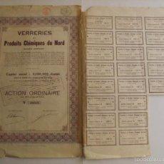 Coleccionismo Acciones Extranjeras: 1922, ACCIÓN VERRIERIES ET PRODUITS CHIMIQUES DU NORD. Lote 57241247