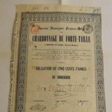 Coleccionismo Acciones Extranjeras: 1910, OBLIGATION CHARBONNAGE DE FORTE-TAILLE. Lote 57241286