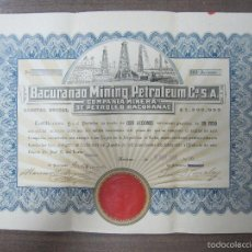 Coleccionismo Acciones Extranjeras: ACCION BACURANAO MINING PETROLEUM. CUBA. AÑO 1918. CIEN ACCIONES. Lote 74287869