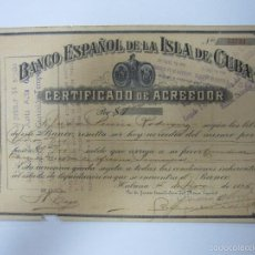 Colecionismo Ações Internacionais: ACCION. BANCO ESPAÑOL DE LA ISLA DE CUBA. AÑO 1925.. Lote 137150128