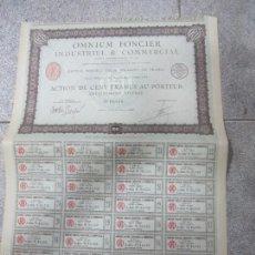 Coleccionismo Acciones Extranjeras: ACCION. OMNIUM FONCIER INDUSTRIEL & COMMERCIAL. PARIS. 1923. Lote 57479363