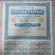 Coleccionismo Acciones Extranjeras: ACCION. MINES D´OR DE NAM KOK. AÑO 1929.. Lote 57484463