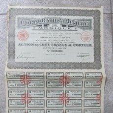 Coleccionismo Acciones Extranjeras: ACCION. CORPORATION MINIÈRE DU MEXIQUE. AÑO 1923.. Lote 57485047