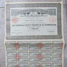 Coleccionismo Acciones Extranjeras: ACCION. CORPORATION MINIÈRE DU MEXIQUE. AÑO 1923.. Lote 57485080