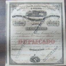 Coleccionismo Acciones Extranjeras: ACCION. EMPRESA DEL FERRO-CARRIL DE GUANTÁNAMO. AÑO 1899.. Lote 57505662