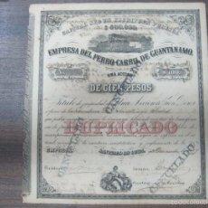 Coleccionismo Acciones Extranjeras: ACCION. EMPRESA DEL FERRO-CARRIL DE GUANTÁNAMO. AÑO 1899.. Lote 57505673