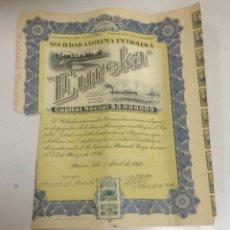 Coleccionismo Acciones Extranjeras: ACCIÓN LA PETROLERA EUREKA. 1918. MEXICO. Lote 57644068