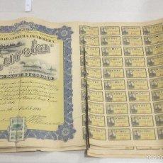 Coleccionismo Acciones Extranjeras: ACCIÓN LA PETROLERA EUREKA. 1918. MEXICO. CON CUPONES. Lote 57644141