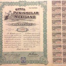 Coleccionismo Acciones Extranjeras: BANCO PENINSULAR MEXICANO (1908) MÉXICO. Lote 57667985
