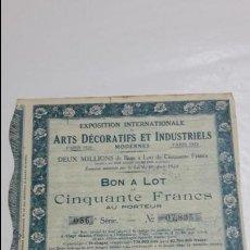 Collezionismo Azioni Internazionali: ANTIGUA ACCIÓN EXPOSICIÓN INTERNACIONAL FRANCESA ARTE DECORATIVO Y INDUSTRIAL PARÍS FRANCIA 1923. Lote 58109887