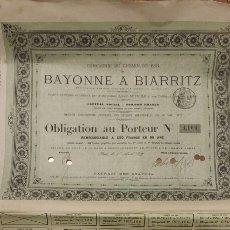 Coleccionismo Acciones Extranjeras: COMPAÑÍA DE LOS FERROCARRILES DE BAYONA A BIARRITZ (1877). Lote 59726828