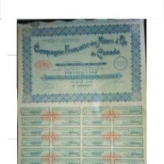 Coleccionismo Acciones Extranjeras: MINAS DE ORO DEL CANADÁ. MINES D'OR DU CANADA, 1929. ENVÍO GRATIS.. Lote 86044659