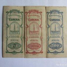 Coleccionismo Acciones Extranjeras: ACCIONES ORIGINALES S.A. PETROLERA EUREKA MEXICO AÑO 1918 CON CUPONES. Lote 65849174