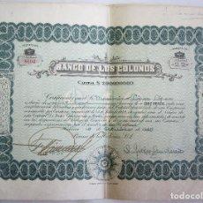 Coleccionismo Acciones Extranjeras: TITULO DE ACCIONES DE 10 PESOS DEL BANCO DE LOS COLONOS. - HABANA CUBA 1945. Lote 153095201