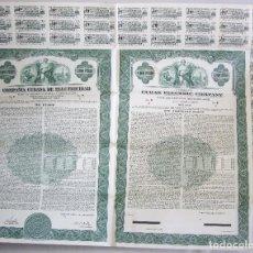 Coleccionismo Acciones Extranjeras: BONO DE 1000 PESOS - COMPAÑIA CUBANA DE ELECTRICIDAD - 1950 - CON CUPONES - VENCIMIENTO 1980. Lote 66083442