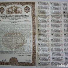 Coleccionismo Acciones Extranjeras: BONO DE 1000 PESOS - COMPAÑIA CUBANA DE ELECTRICIDAD - 1950 - CON CUPONES - VENCIMIENTO 1985. Lote 66084406