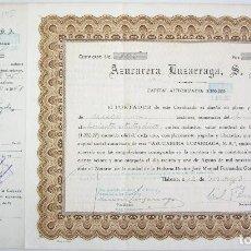 Coleccionismo Acciones Extranjeras: 5 ACCIONES DE 1000 PESOS - AZUCARERA LUZARRAGA - HABANA CUBA 1950. Lote 66101266